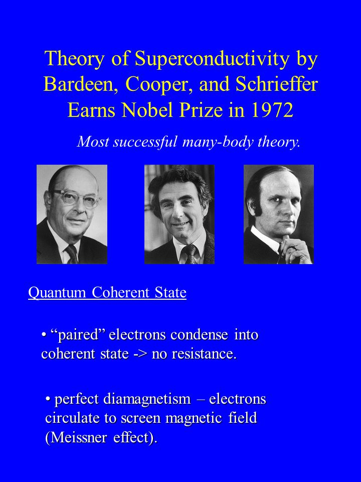 Theory of Superconductivity by Bardeen, Cooper, and Schrieffer Earns Nobel Prize in 1972 Most successful many-body theory.