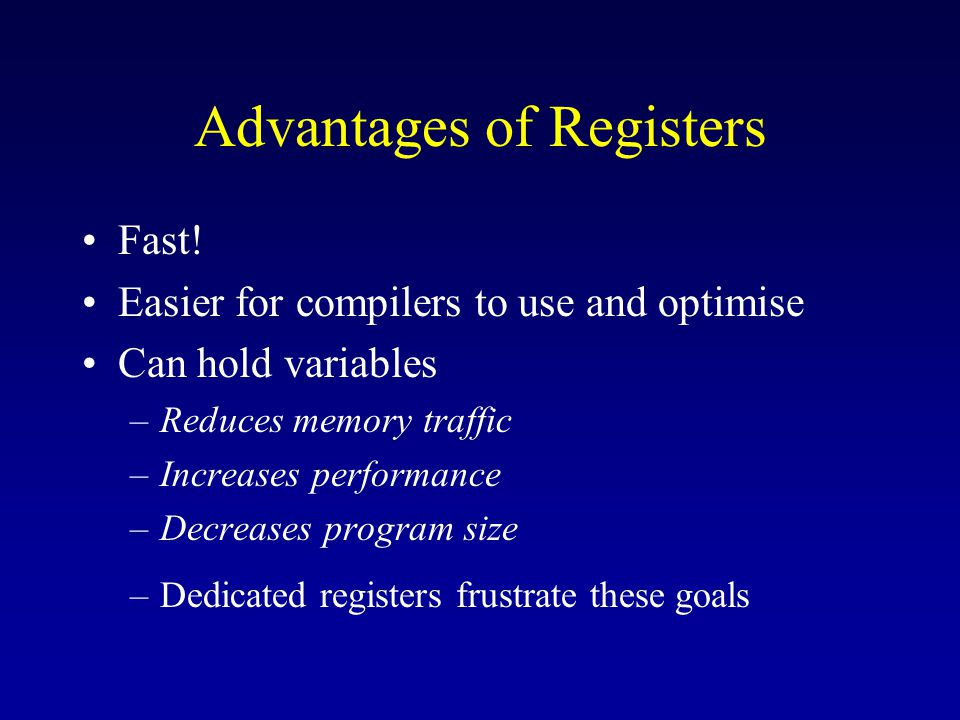 Advantages of Registers Fast.