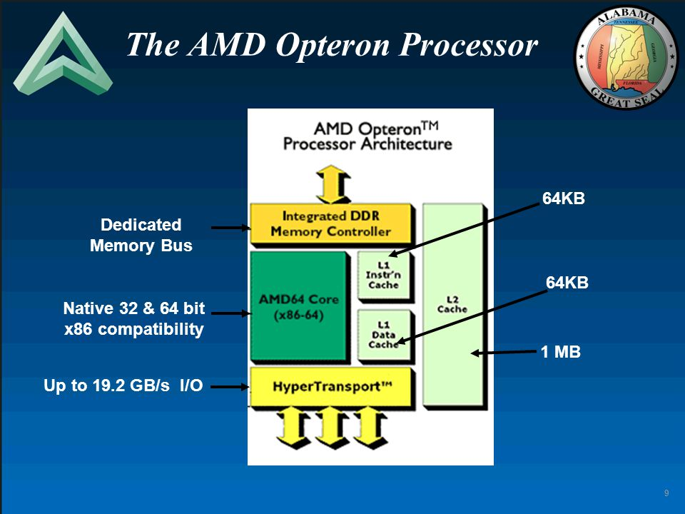 9 The AMD Opteron Processor Dedicated Memory Bus 64KB 1 MB Up to 19.2 GB/s I/O Native 32 & 64 bit x86 compatibility
