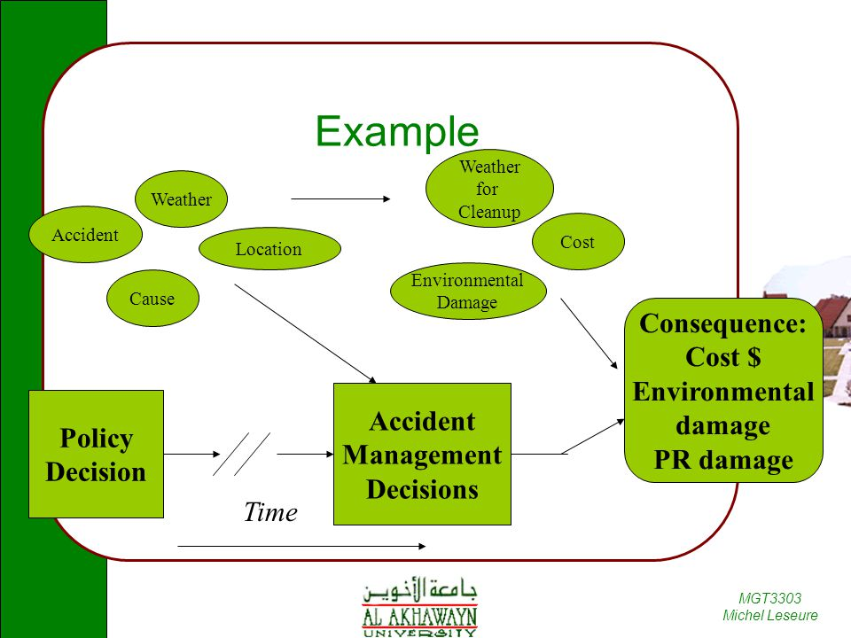 MGT3303 Michel Leseure Example Policy Decision Accident Management Decisions Time Accident Consequence: Cost $ Environmental damage PR damage Cause We