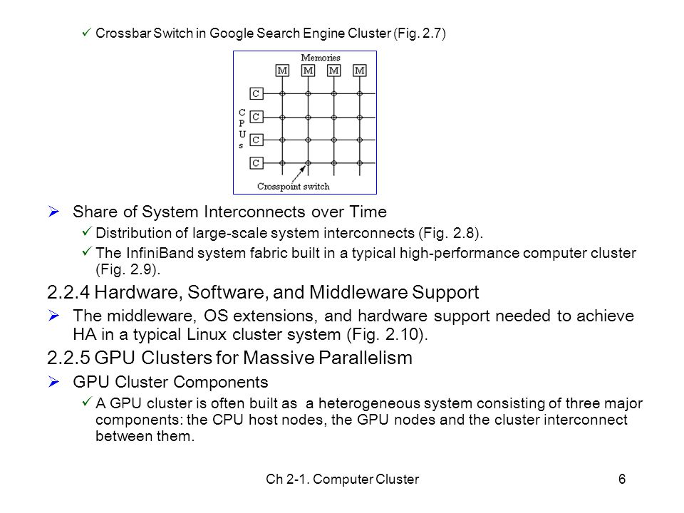 Ch 2-1. Computer Cluster6 Crossbar Switch in Google Search Engine Cluster (Fig. 2.7)  Share of System Interconnects over Time Distribution of large-s