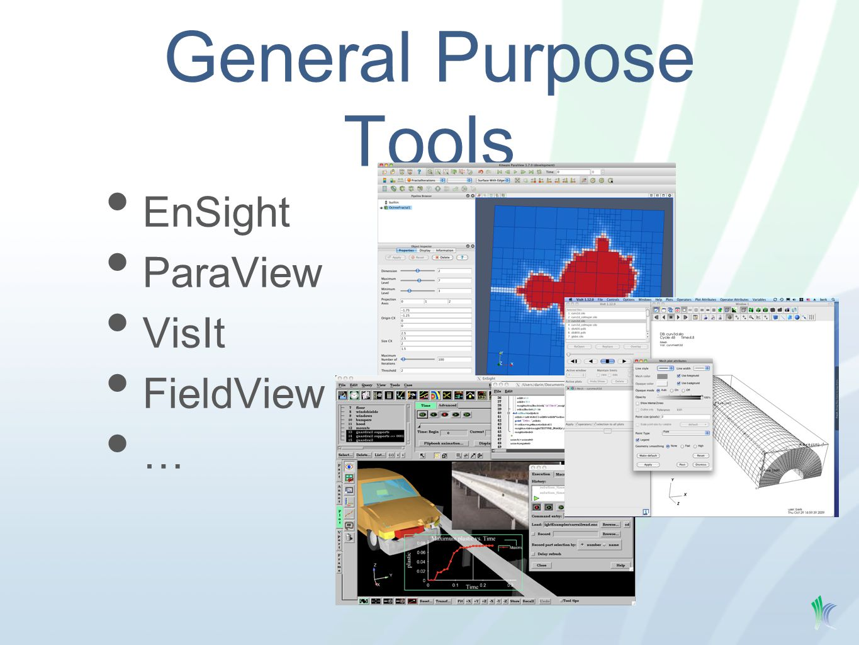 General Purpose Tools EnSight ParaView VisIt FieldView …