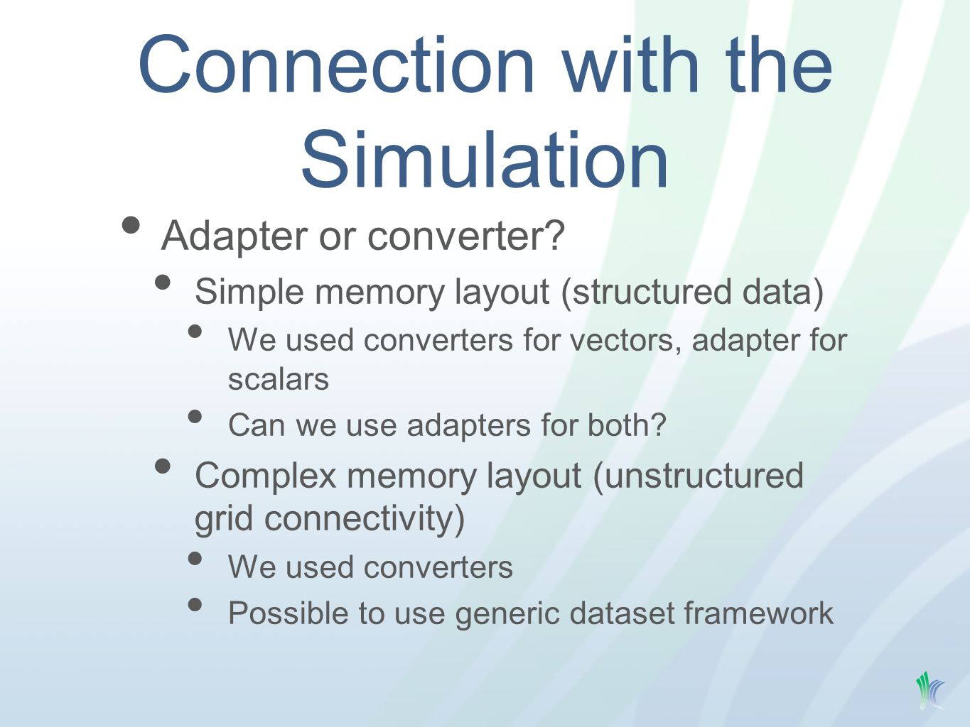 Connection with the Simulation Adapter or converter.