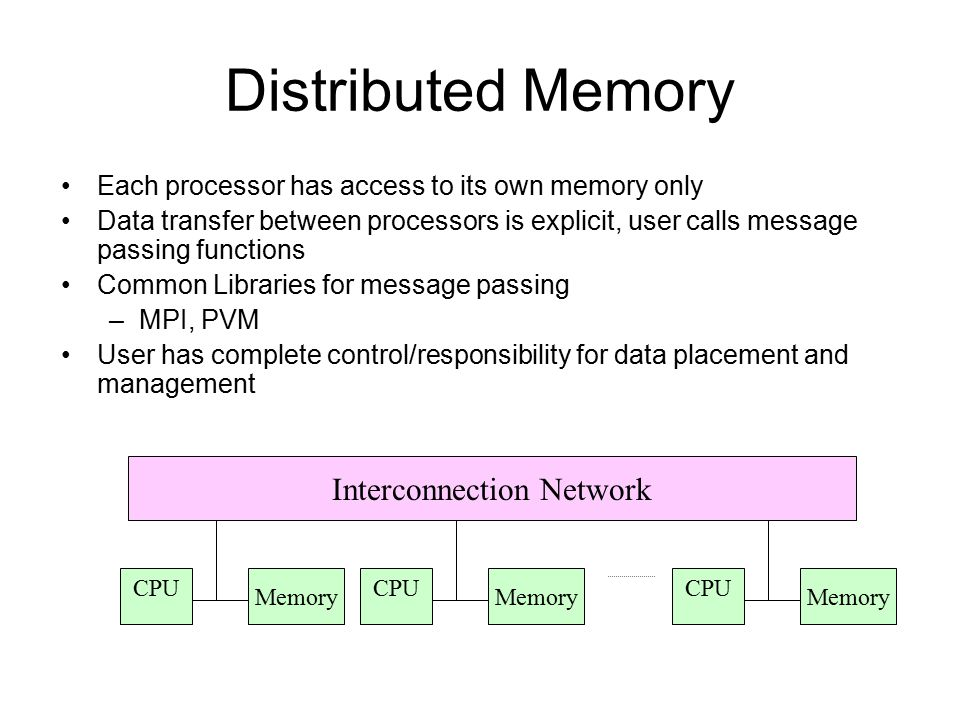 Distributed Memory Each processor has access to its own memory only Data transfer between processors is explicit, user calls message passing functions
