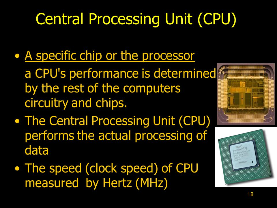 18 Central Processing Unit (CPU) A specific chip or the processor a CPU's performance is determined by the rest of the computers circuitry and chips.