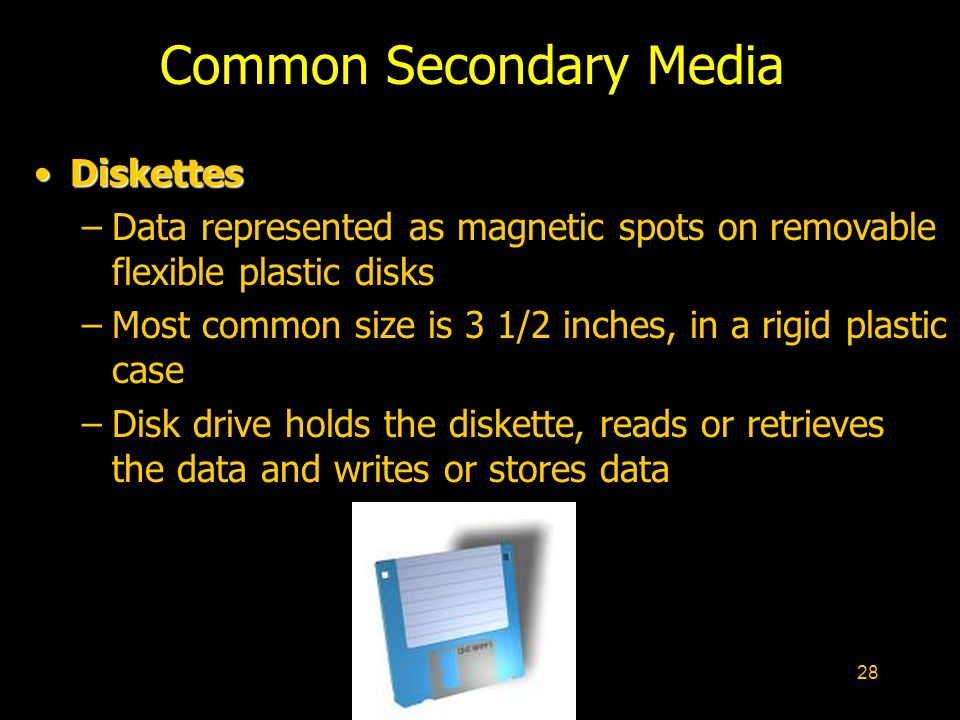 28 Common Secondary Media DiskettesDiskettes –Data represented as magnetic spots on removable flexible plastic disks –Most common size is 3 1/2 inches, in a rigid plastic case –Disk drive holds the diskette, reads or retrieves the data and writes or stores data