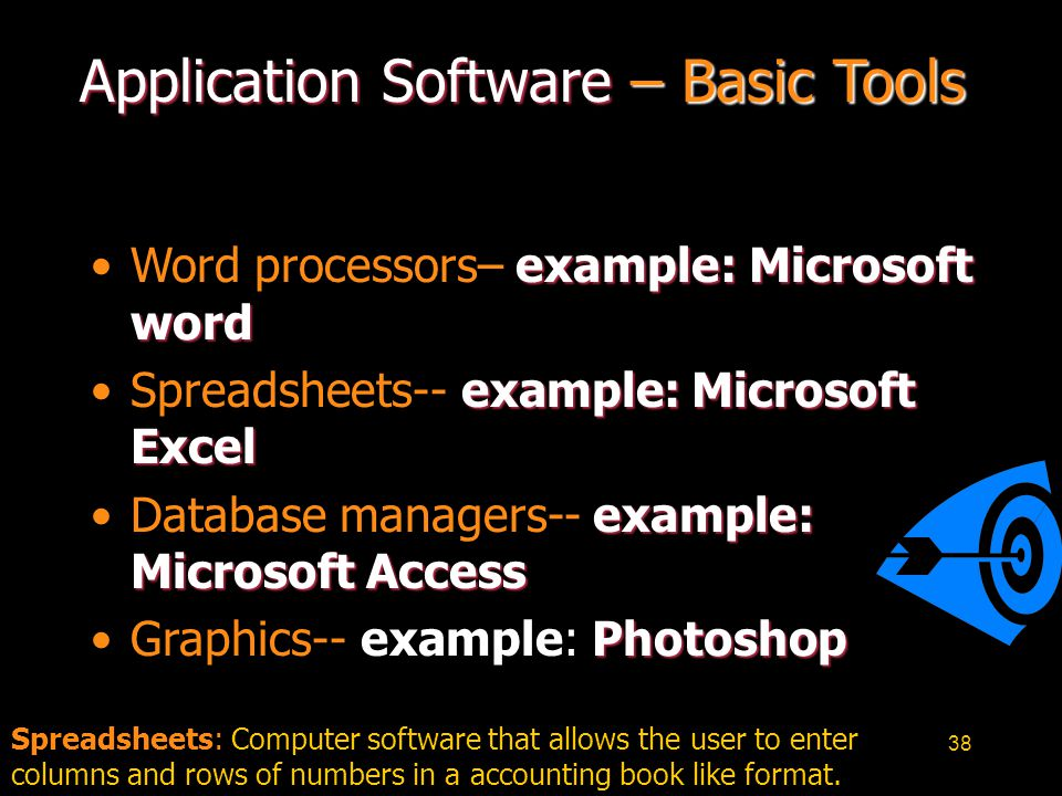 38 Application Software – Basic Tools example: Microsoft wordWord processors– example: Microsoft word example: Microsoft ExcelSpreadsheets-- example:
