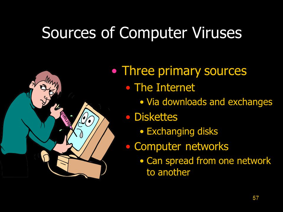 57 Sources of Computer Viruses Three primary sources The Internet Via downloads and exchanges Diskettes Exchanging disks Computer networks Can spread from one network to another