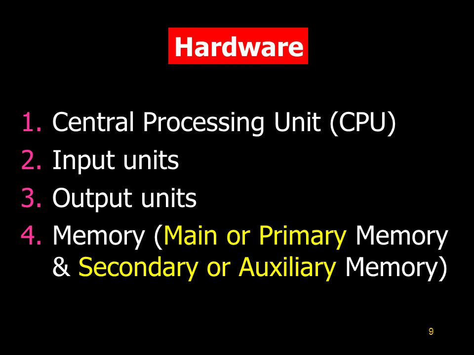 9 Hardware 1.Central Processing Unit (CPU) 2.Input units 3.Output units 4.Memory (Main or Primary Memory & Secondary or Auxiliary Memory)