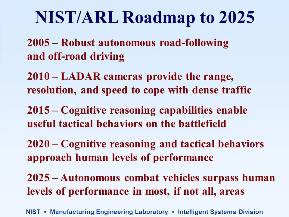 NIST Manufacturing Engineering Laboratory Intelligent Systems Division NIST/ARL Roadmap to 2025 2005 – Robust autonomous road-following and off-road driving 2010 – LADAR cameras provide the range, resolution, and speed to cope with dense traffic 2015 – Cognitive reasoning capabilities enable useful tactical behaviors on the battlefield 2020 – Cognitive reasoning and tactical behaviors approach human levels of performance 2025 – Autonomous combat vehicles surpass human levels of performance in most, if not all, areas