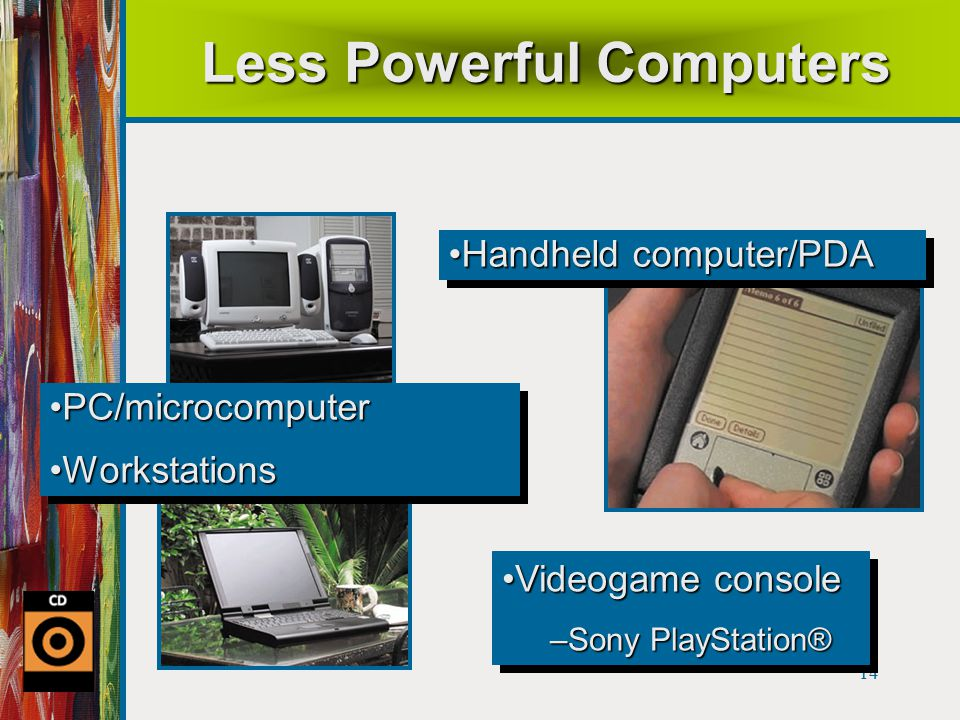 14 Less Powerful Computers Handheld computer/PDAHandheld computer/PDA Videogame consoleVideogame console –Sony PlayStation® Videogame consoleVideogame console –Sony PlayStation® PC/microcomputerPC/microcomputer WorkstationsWorkstations PC/microcomputerPC/microcomputer WorkstationsWorkstations