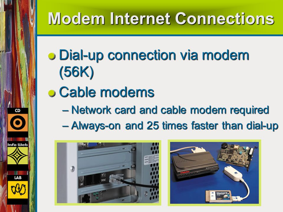 41 Modem Internet Connections Dial-up connection via modem (56K) Cable modems –Network card and cable modem required –Always-on and 25 times faster than dial-up