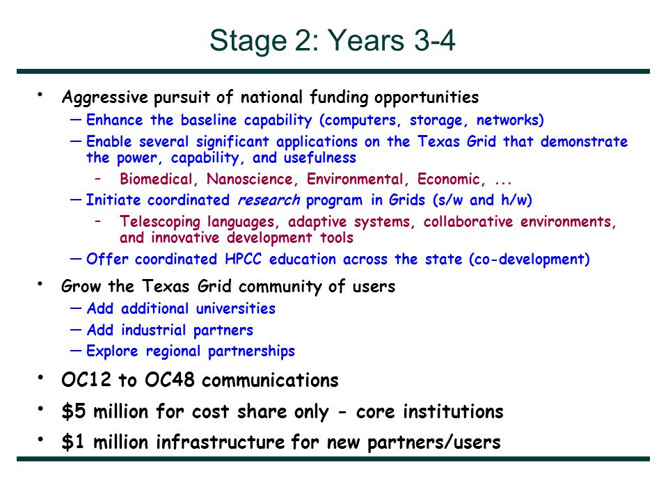Stage 2: Years 3-4 Aggressive pursuit of national funding opportunities —Enhance the baseline capability (computers, storage, networks) —Enable several significant applications on the Texas Grid that demonstrate the power, capability, and usefulness –Biomedical, Nanoscience, Environmental, Economic,...