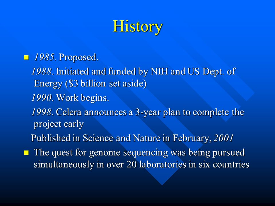 History 1985.Proposed. 1985. Proposed. 1988. Initiated and funded by NIH and US Dept.