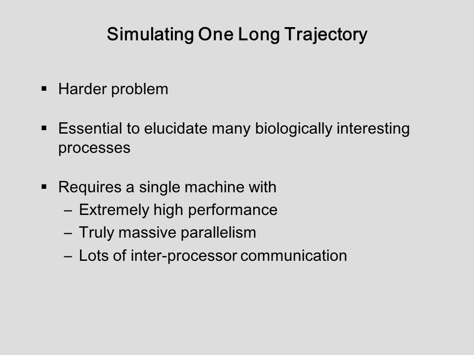 Simulating One Long Trajectory  Harder problem  Essential to elucidate many biologically interesting processes  Requires a single machine with –Extremely high performance –Truly massive parallelism –Lots of inter-processor communication