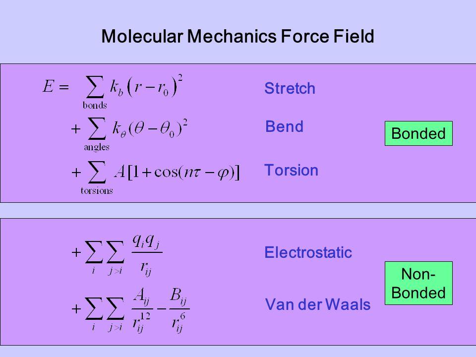 Molecular Mechanics Force Field Stretch Bend Torsion Electrostatic Van der Waals Non- Bonded