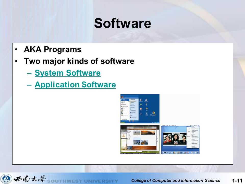 College of Computer and Information Science 1-11 Software AKA Programs Two major kinds of software –System SoftwareSystem Software –Application Softwa