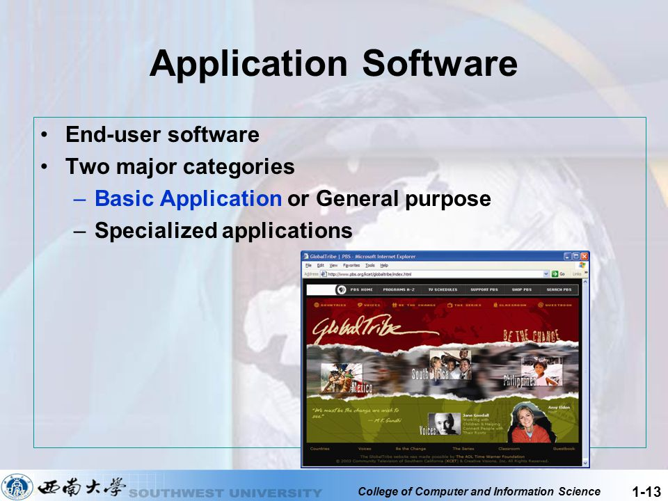 College of Computer and Information Science 1-13 Application Software End-user software Two major categories –Basic Application or General purpose –Sp