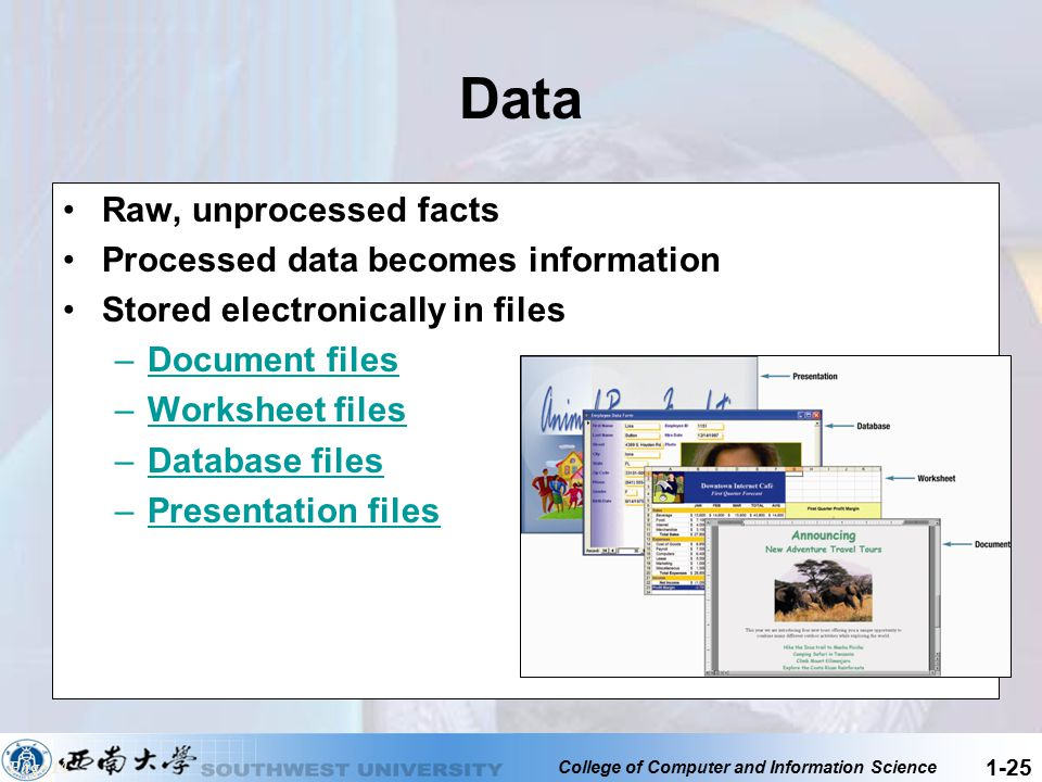 College of Computer and Information Science 1-25 Data Raw, unprocessed facts Processed data becomes information Stored electronically in files –Docume