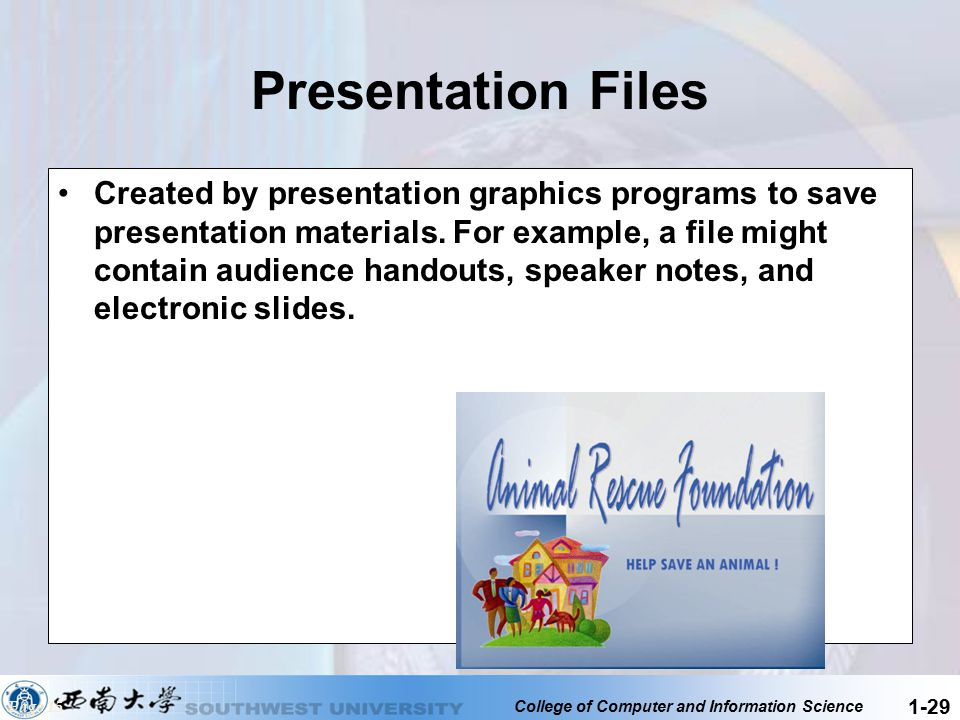 College of Computer and Information Science 1-29 Presentation Files Created by presentation graphics programs to save presentation materials. For exam