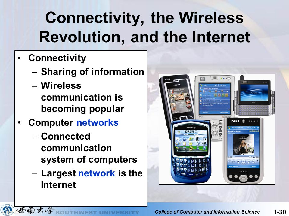 College of Computer and Information Science 1-30 Connectivity, the Wireless Revolution, and the Internet Connectivity –Sharing of information –Wireles