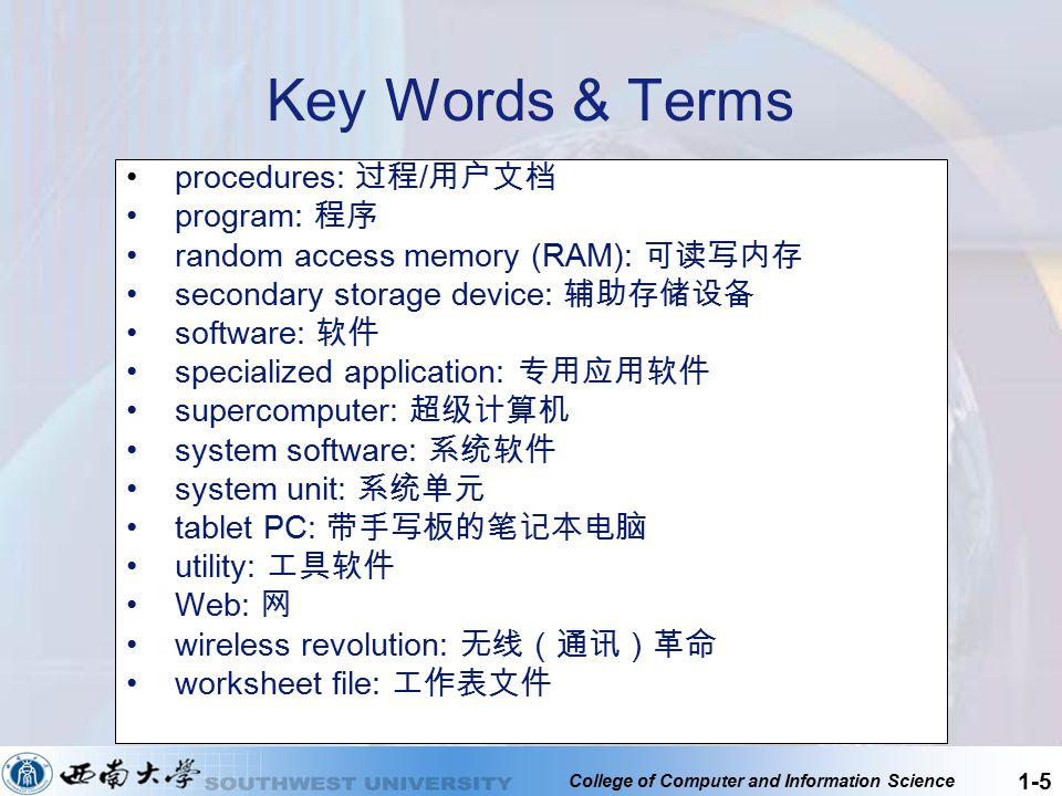 College of Computer and Information Science 1-5 Key Words & Terms procedures: 过程 / 用户文档 program: 程序 random access memory (RAM): 可读写内存 secondary storag