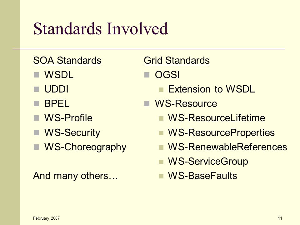 February 200711 Standards Involved SOA Standards WSDL UDDI BPEL WS-Profile WS-Security WS-Choreography And many others… Grid Standards OGSI Extension to WSDL WS-Resource WS-ResourceLifetime WS-ResourceProperties WS-RenewableReferences WS-ServiceGroup WS-BaseFaults