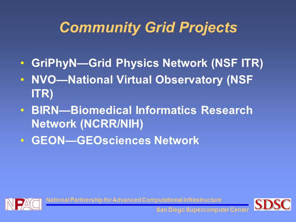 San Diego Supercomputer Center National Partnership for Advanced Computational Infrastructure Community Grid Projects GriPhyN—Grid Physics Network (NS