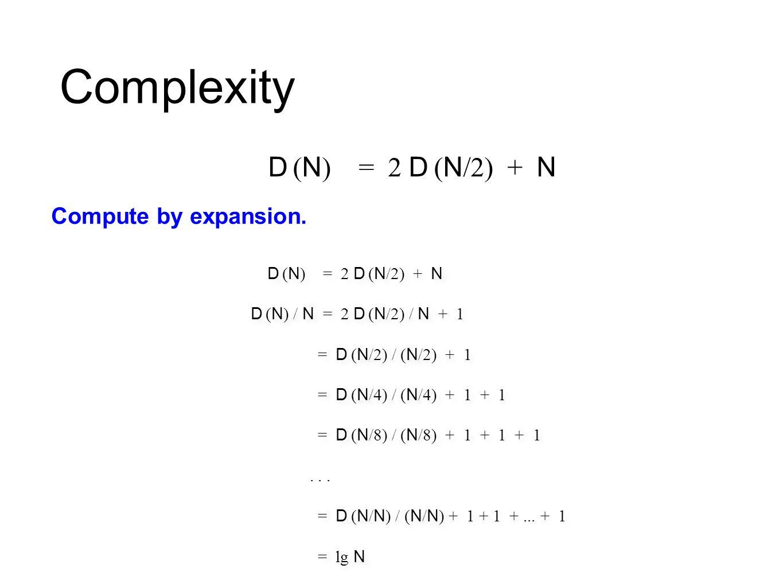 Complexity insertion sort (N 2 )mergesort (N log N) comput er thousan d millionbillion thousan d millionbillion homeinstant 2.8 hours 317 years instant 1 secon d 18 min superinstant 1 secon d 1 weekinstant Laptop executes 10 8 compares/second.