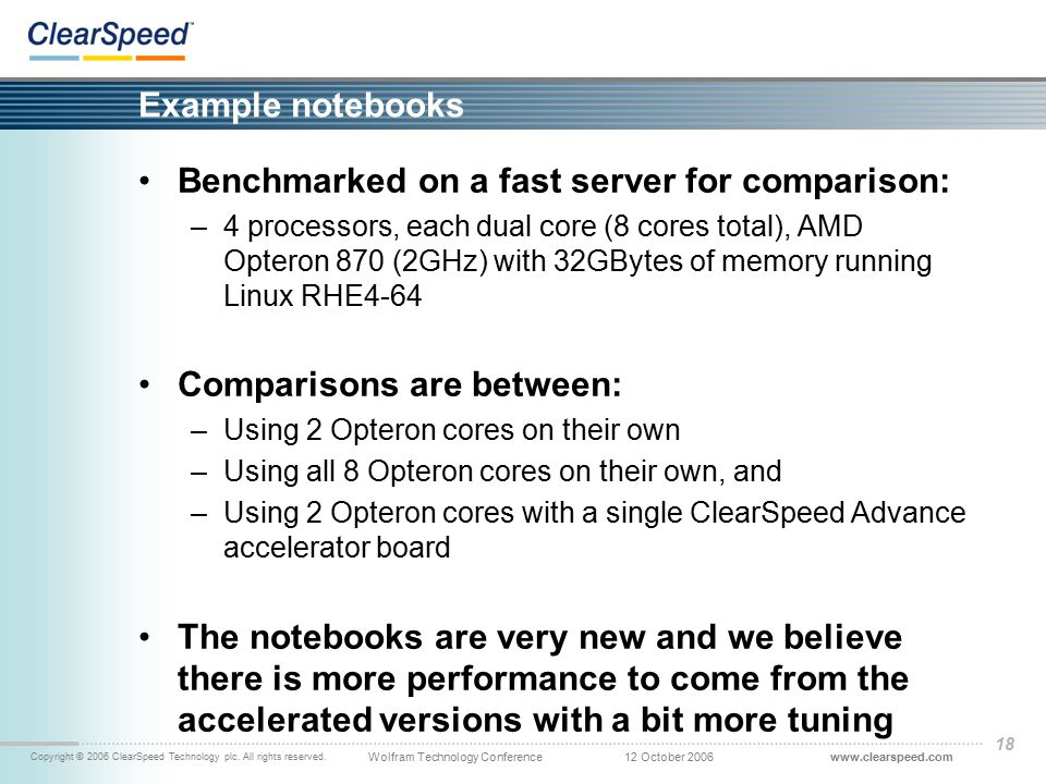 www.clearspeed.comWolfram Technology Conference Copyright © 2006 ClearSpeed Technology plc. All rights reserved. 12 October 2006 18 Example notebooks