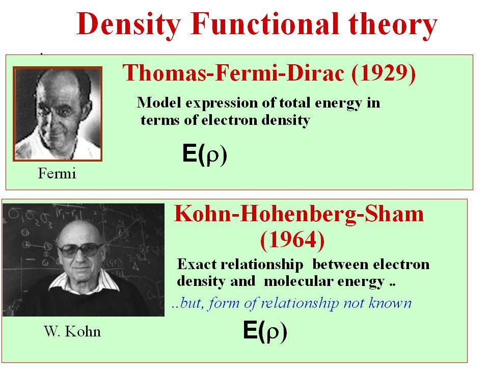 Kohn-Sham total-energy functional Kinetic energy of electron Coulomb interaction between ion and electron Coulomb interaction between electrons exchange-correlation energy of electrons static Coulomb interaction between ions  DFT says that total energy is a unique functional of the electron density.