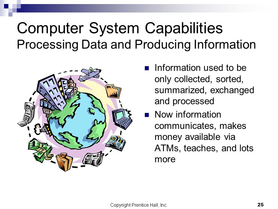 Copyright Prentice Hall, Inc.25 Computer System Capabilities Processing Data and Producing Information Information used to be only collected, sorted, summarized, exchanged and processed Now information communicates, makes money available via ATMs, teaches, and lots more