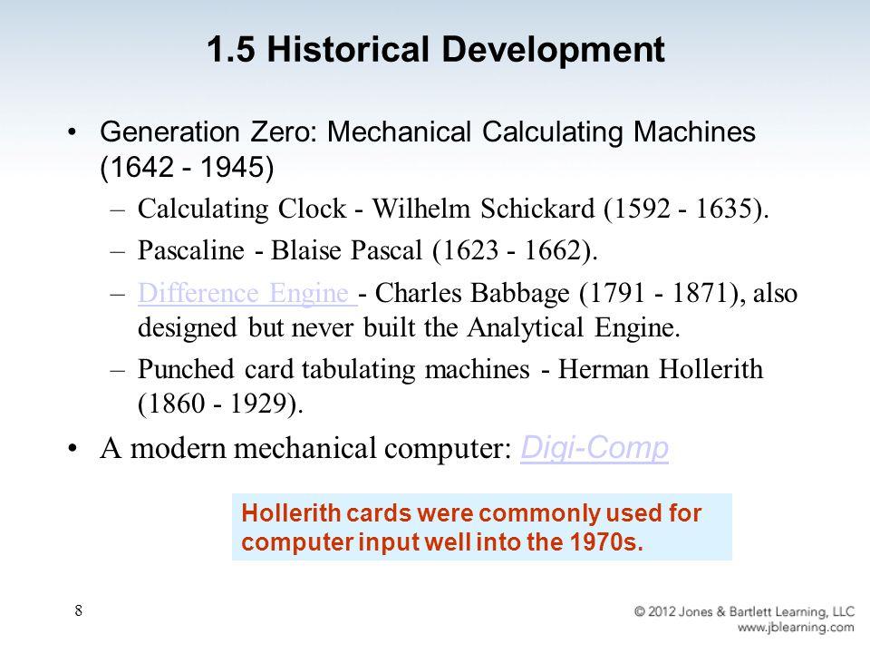 8 Generation Zero: Mechanical Calculating Machines (1642 - 1945) –Calculating Clock - Wilhelm Schickard (1592 - 1635).