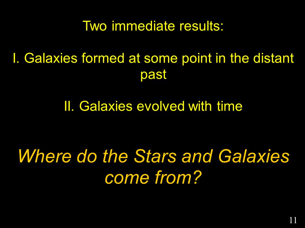 Two immediate results: I. Galaxies formed at some point in the distant past II. Galaxies evolved with time Where do the Stars and Galaxies come from?