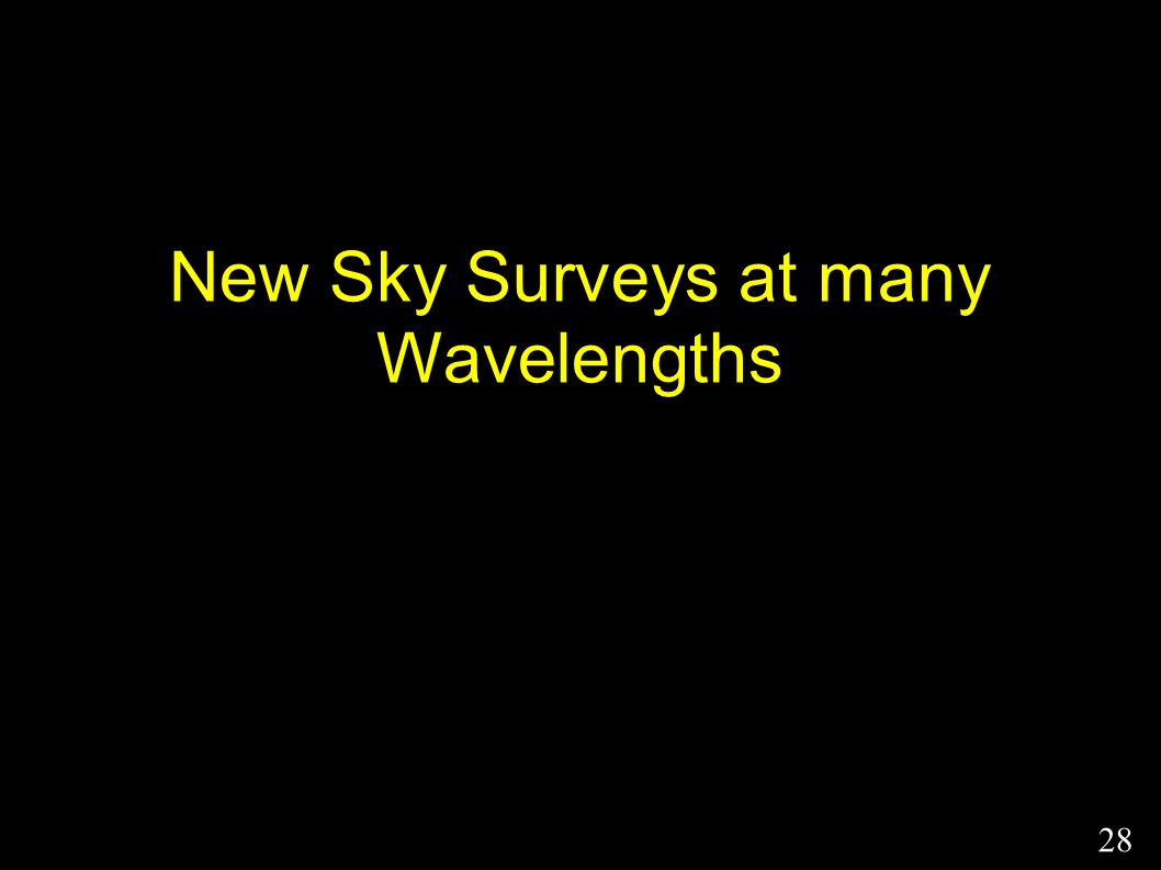 New Sky Surveys at many Wavelengths 28