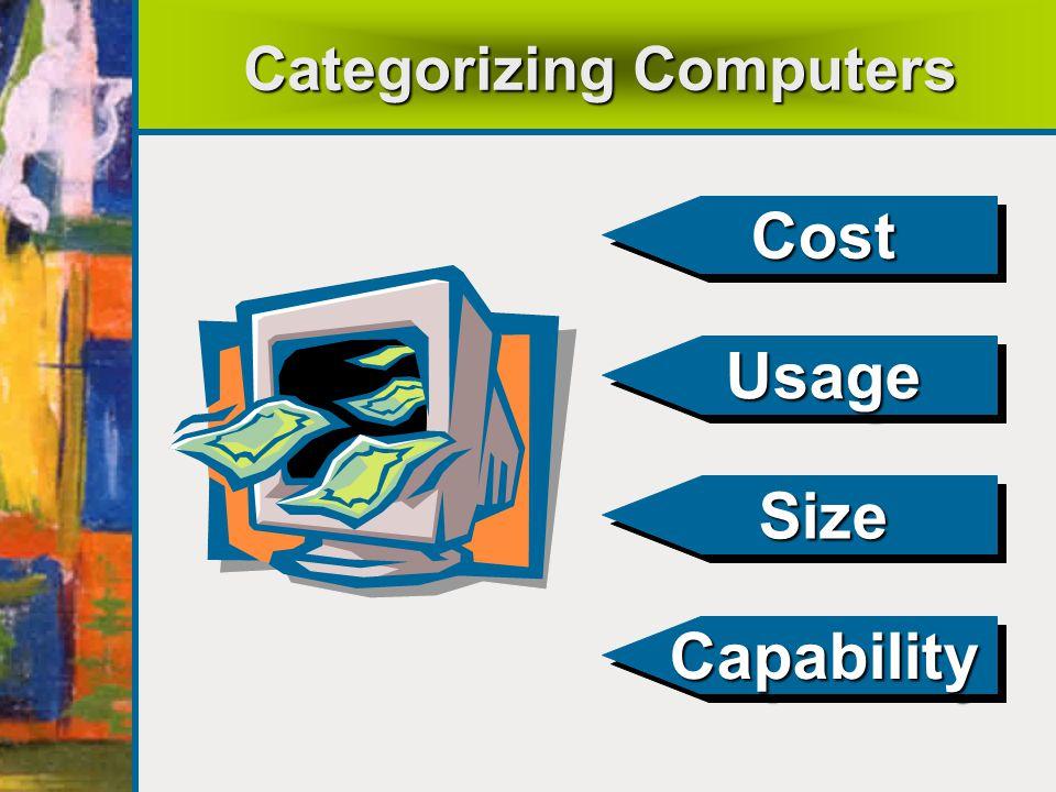 Categorizing Computers CostCost UsageUsage SizeSize CapabilityCapability