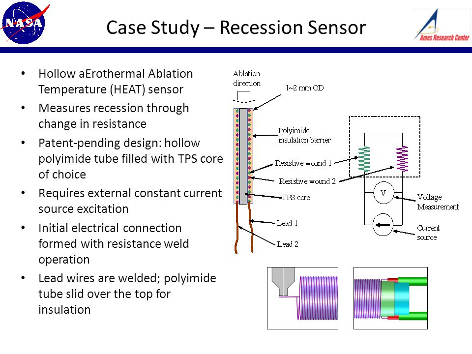 Case Study – Recession Sensor Hollow aErothermal Ablation Temperature (HEAT) sensor Measures recession through change in resistance Patent-pending design: hollow polyimide tube filled with TPS core of choice Requires external constant current source excitation Initial electrical connection formed with resistance weld operation Lead wires are welded; polyimide tube slid over the top for insulation
