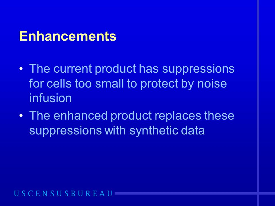 Enhancements The current product has suppressions for cells too small to protect by noise infusion The enhanced product replaces these suppressions wi