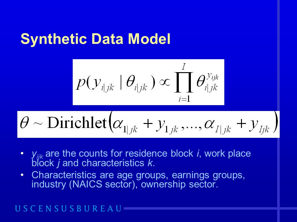 Synthetic Data Model y ijk are the counts for residence block i, work place block j and characteristics k. Characteristics are age groups, earnings gr
