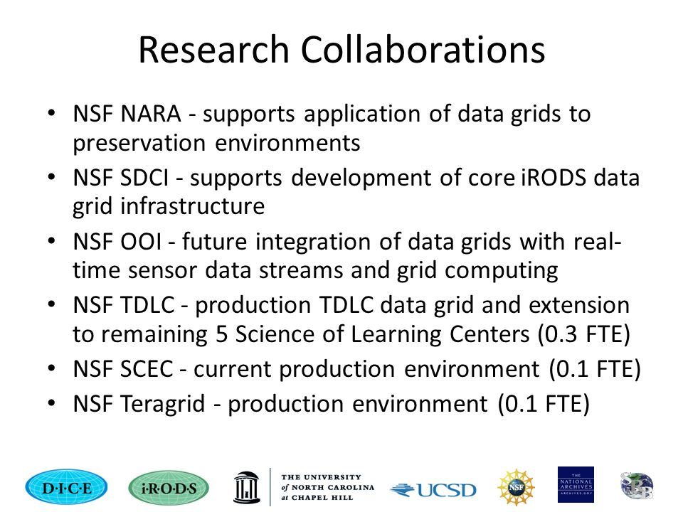 Research Collaborations NSF NARA - supports application of data grids to preservation environments NSF SDCI - supports development of core iRODS data grid infrastructure NSF OOI - future integration of data grids with real- time sensor data streams and grid computing NSF TDLC - production TDLC data grid and extension to remaining 5 Science of Learning Centers (0.3 FTE) NSF SCEC - current production environment (0.1 FTE) NSF Teragrid - production environment (0.1 FTE)