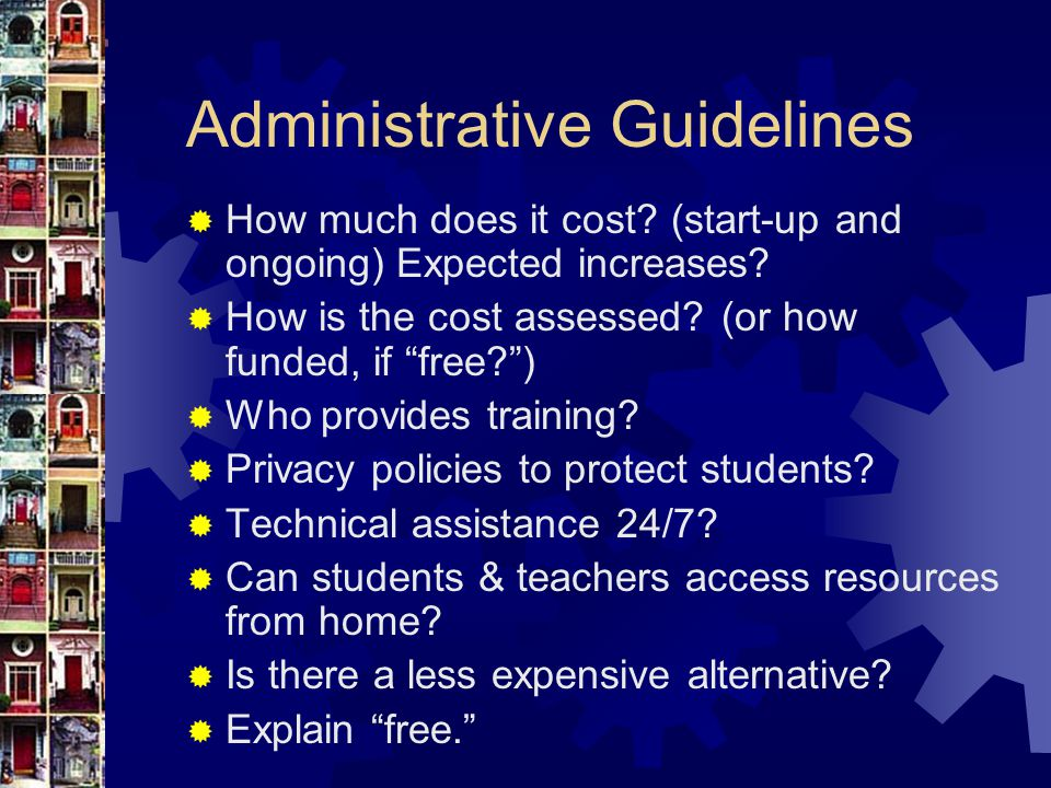Administrative Guidelines  How much does it cost.