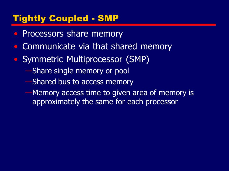 Time Shared Bus Simplest form Structure and interface similar to single processor system Following features provided —Addressing - distinguish modules on bus —Arbitration - any module can be temporary master —Time sharing - if one module has the bus, others must wait and may have to suspend Now have multiple processors as well as multiple I/O modules