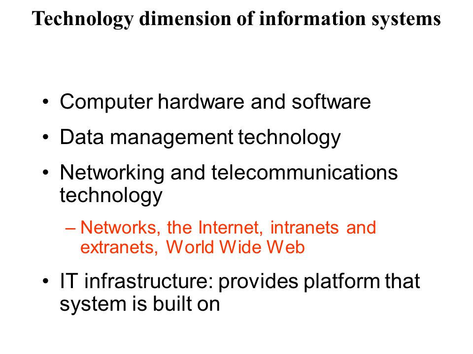 Computer hardware and software Data management technology Networking and telecommunications technology –N–Networks, the Internet, intranets and extran