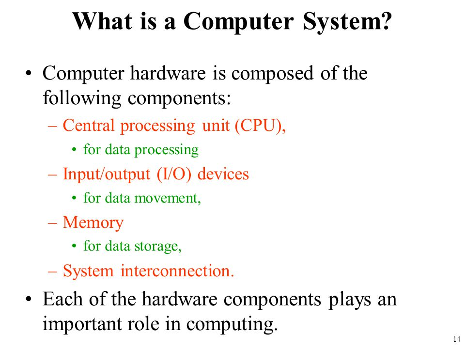Computer hardware is composed of the following components: –Central processing unit (CPU), for data processing –Input/output (I/O) devices for data mo