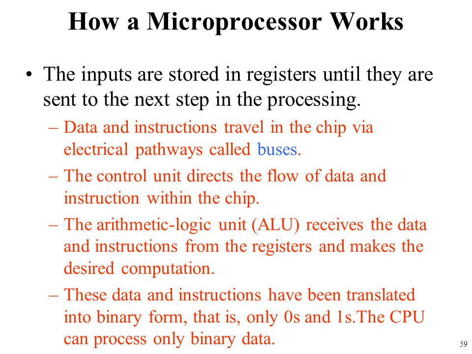The inputs are stored in registers until they are sent to the next step in the processing. –Data and instructions travel in the chip via electrical pa
