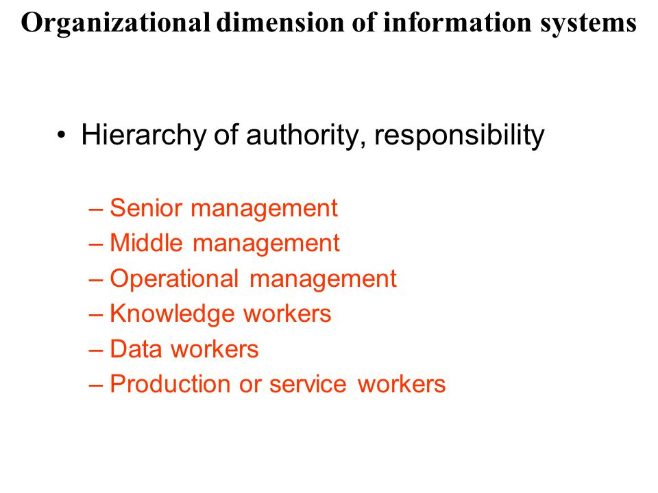 Hierarchy of authority, responsibility –Senior management –Middle management –Operational management –Knowledge workers –Data workers –Production or s