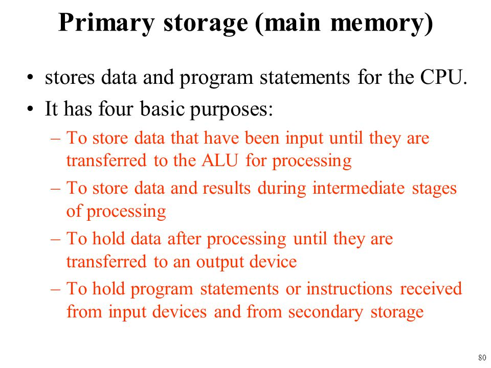 stores data and program statements for the CPU. It has four basic purposes: –To store data that have been input until they are transferred to the ALU
