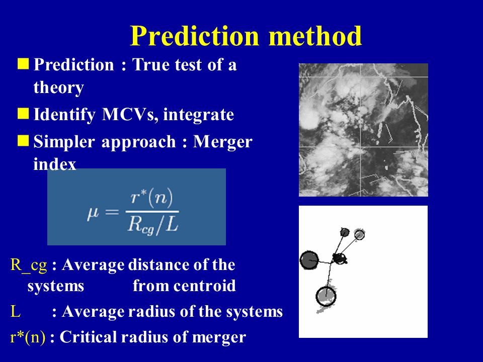 Prediction method R_cg : Average distance of the systems from centroid L : Average radius of the systems r*(n) : Critical radius of merger Prediction : True test of a theory Identify MCVs, integrate Simpler approach : Merger index