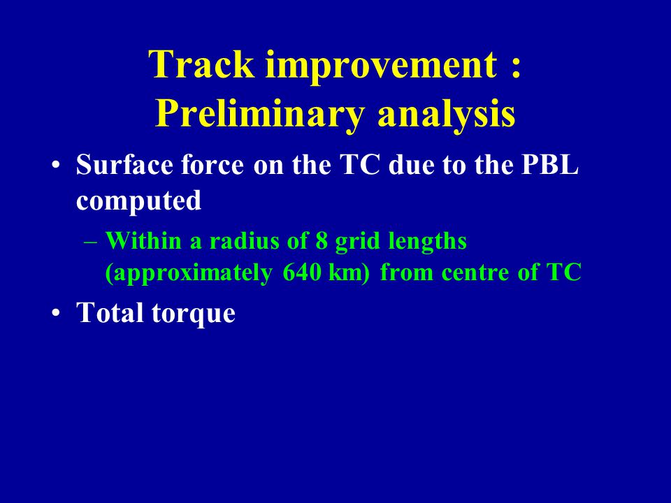 Track improvement : Preliminary analysis Surface force on the TC due to the PBL computed –Within a radius of 8 grid lengths (approximately 640 km) fro