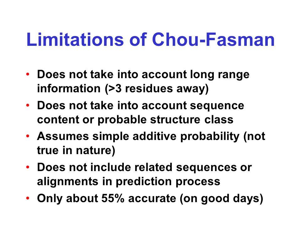 Limitations of Chou-Fasman Does not take into account long range information (>3 residues away) Does not take into account sequence content or probabl